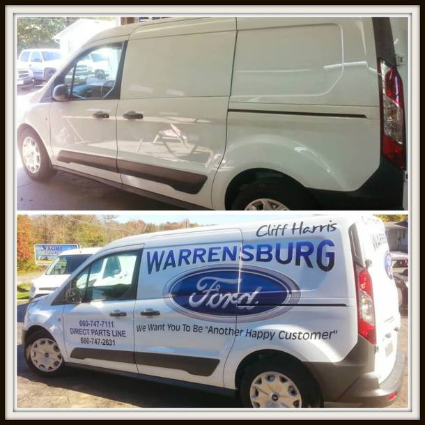 lettering for Ford vehicle service vans